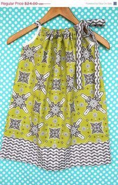 Pillowcase Dress in Ty Pennington Fabric Duo Chartreuse Moorish and Gray Wave