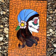Day of the Dead Glass Mosaic with hand painted face by Cheryl Syminink C Glass Studio