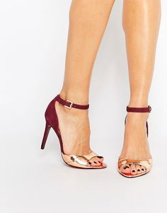 ASOS Ted Baker Camiyl Red And Rose Gold Two Part Sandals