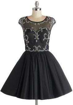 Come to kpopcity.net -- the biggest discount variety fashion store online!! Speak Volumes Dress - Sheer, Knit, Woven, Mid-length, Prom, Black, Silver, Backless, Beads, Rhinestones, Cocktail, Fit  Flare, Cap Sleeves,...