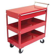 Featuring a wheeled design and top storage drawer, this 3-tier metal tool cart offers abundant storage with portable appeal.   Prod...
