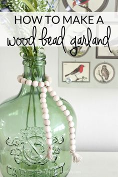 Wood beads are a popular farmhouse decor accessory. See how easy (and inexpensive) it is to make a wood bead garland of your own!