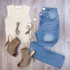 """""""Fall Casual with Fashion Nova 1⃣Search: """"Channi Top - Oatmeal""""  2⃣Search: """"Next Level Jeans""""  3⃣Search: """"Plie Heels - Taupe""""  4⃣Search: """"Wanderlust…"""""""