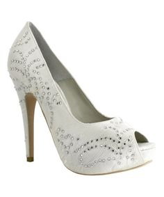 This Ivory Bejeweled Peep-Toe Pump by Menbur is perfect! #zulilyfinds