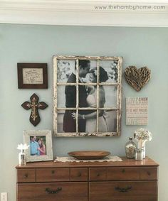 Turn an OLD WINDOW into a WEDDING PHOTO...Love this idea!!! What do you think? via Hamby Home Decor
