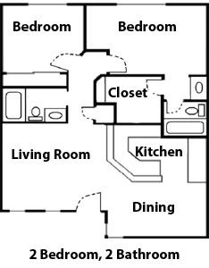 diagram floor plan of a 2 bedroom 2 bathroom apartment at the willows apartments - Apartment Floor Plans 2 Bedroom