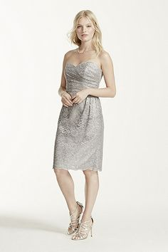 MORE COLORS Short Strapless All Over Metallic Lace Dress Style F15620M $159.00