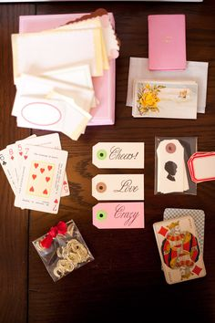 using cards for invites, tables, etc.