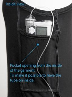 Linne Boxi4 Svart Sport Easy to carry your insulin pump in the tank top (this is inside view)