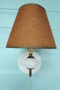Milk glass pin up lamp pinup light Hobnail by BlueBarnCollectibles
