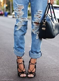 Ripped Jeans sexy heels fashion photography