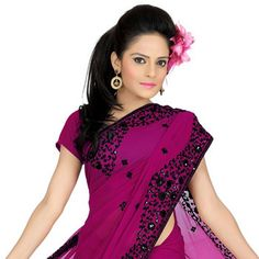 Dark pink Faux georgette Saree With Blouse
