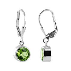 .925 Silver 8mm Round Peridot Dangle Earrings with Leverback Findings