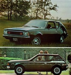 1971 AMC Gremlin and Gremlin X. I'm a big Gremlin fan.I think it'd be cool to have a restored Gremlin X someday. Two adults, and four children crammed in this car on long vacations. Amc Gremlin, Mercury Capri, Jeep, Derby Cars, Datsun 510, Mustang Convertible, American Motors, Car Advertising, Gremlins