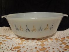 Fire King Anchor Hocking Candle by TresTresInteressant on Etsy Anchor Hocking, Pyrex, Milk Glass, Casserole Dishes, Candles, Unique Jewelry, Tableware, Handmade Gifts, Etsy