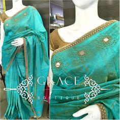 Dress Neck Designs, Blouse Designs, Saree Embroidery Design, Bridesmaid Saree, Silk Saree Kanchipuram, Embroidery On Clothes, Saree Models, Elegant Saree, Work Sarees