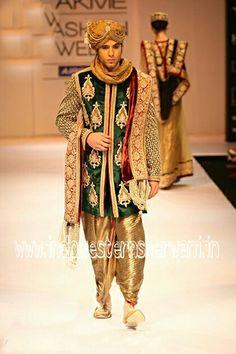 Groom_indo_western_sherwan best groom sherwani with gree valvet material and jardozi superb work on it. Also dhoti patiala with this groom sgerwani only $550