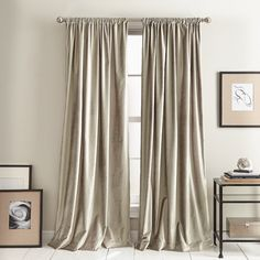 DKNY Modern Knotted Cotton Blend Solid Room Darkening Rod Pocket Curtain Panel Curtain Color: Champagne, Size per Panel: x Rod Pocket Curtains, Grommet Curtains, Drapes Curtains, Bedroom Curtains, Curtains With Plantation Shutters, Dining Room Drapes, Sequin Curtains, Curtain Room, Curtain Call