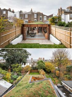 A modern home extension with a green roof, minimalist interior, and warm wood window frames. Minimalist Interior, Minimalist Living, Dark Gray Backsplash, British Architecture, Small Courtyards, Roof Covering, Wood Windows, House Extensions, Window Frames