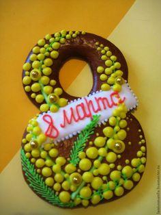 Купить Восьмерка с мимозой - 8марта, весна, весеннее настроение, веселый подарок, весенние цветы
