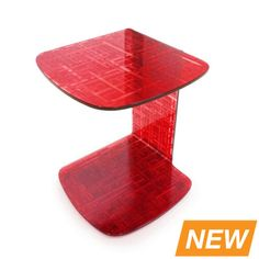 Poly side table #Glassisimo #GlassFurniture #BentGlass #Red #Translucent
