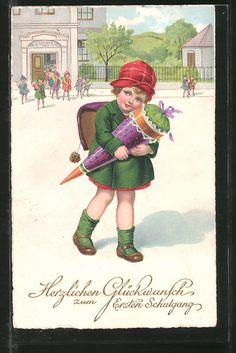 """carte postale ancienne: CPA """"Herzlichen Glückwunsch zum ersten Schulgang"""", Fille umarmt ihre Zuckertüte vor der Schule"""