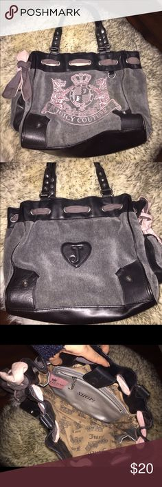 Juicy Couture Handbag!! Grey and pink Juicy Couture bag. In perfect condition, the only thing wrong is that I don't know how to tie a pretty bow! Juicy Couture Bags Shoulder Bags