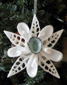 Snowflake Ornament on Seashell by OceanBlooms on Etsy,