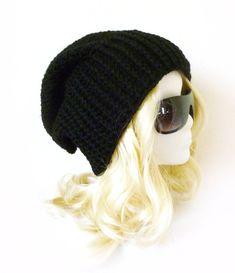 Black Beanie Ribbed rim Opie style hat Slouchy Beanie Biker hat motocycle Crochet slouch hat for men Baggy hat 'BIKER BEANIE' on Etsy, $30.00