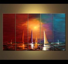 """Colorful Sailboats Painting Original Abstract Seascape Acrylic Painting by Osnat - MADE-TO-ORDER - 60""""x36"""" by OsnatFineArt on Etsy https://www.etsy.com/listing/175023541/colorful-sailboats-painting-original"""