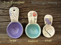 Making scoops is a fun way for me to relax and experiment with new decorating ideas. My scoops are handmade from silky smooth porc. Ceramic Spoons, Stoneware Clay, Ceramic Clay, Ceramic Plates, Clay Stamps, Glaze Paint, Coffee Accessories, Pottery Techniques, Slab Pottery
