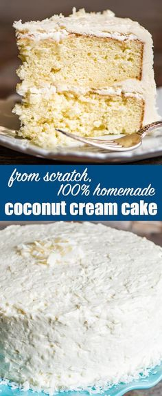 From scratch coconut cake recipe with homemade coconut cream frosting. Hints for making a fluffy white cake with an excellent vanilla coconut flavor. Coconut Cake Recipe From Scratch {Homemade Coconut Cream Frosting} #cake #coconut #homemade via @thebestcakerecipes