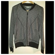 Athleta Light Weight Jacket Full zip, breathable street style jacket in charcoal grey and black. Made with a polytech stretch material. Great condition, Gently worn. Athleta Jackets & Coats Utility Jackets