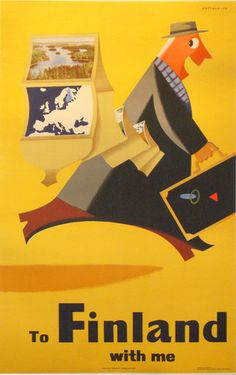 1960s Poster To Finland with Me