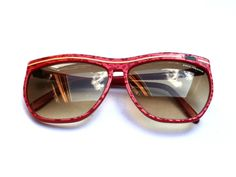 Rare PACO RABANNE red sunglasses, For women plastic glasses frames, French couture fashion accessory, Paris France, Vintage 1980s