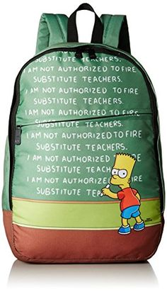 NEFF Men's Chalkboard Backpack, GREEN, One Size - Adjustable Straps - Bart Simpson - The Simpsons - 20th Century Fox - Style #15FS68CB. Available while supplies last!  https://www.amazon.com/dp/B010I673VE/ref=cm_sw_r_pi_dp_x_U8r4xbHRQRQNB