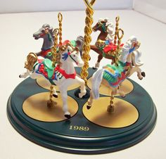 1989 Hallmark Christmas Carousel Horse Display Stand for Ginger, Star, Snow, Holly.