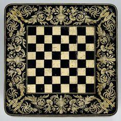 Penwork checkerboard table top.