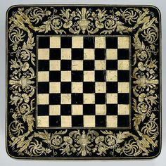 Penwork checkerboard table top.