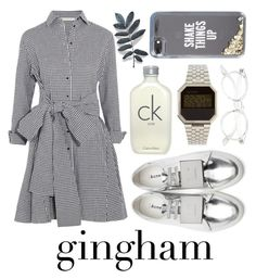 """Gingham dress #8694026"" by flowersfordinner on Polyvore featuring Acne Studios, Maje, Kate Spade, Nixon and Calvin Klein"