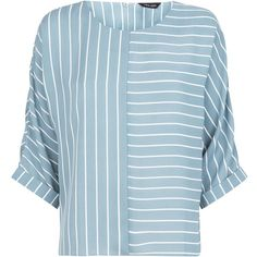 Light Grey Contrast Stripe Top (28 CAD) via Polyvore featuring tops
