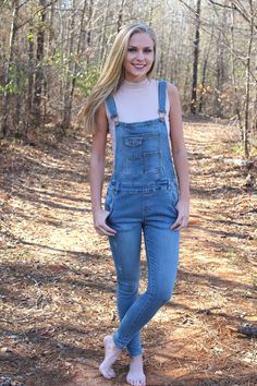 Out and about denim overalls