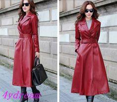 Formal Women's Long Trench Coat Faux Leather Slim Jacket Windbreaker Outerwear | eBay