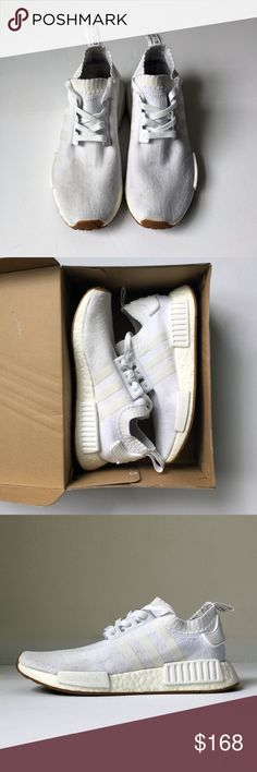 ADIDAS NMD R1 gum pack white shoes mens 7.5 ADIDAS ORIGINALS NMD R1  BY1888   rare, sold out.  boost. primeknit technology.  gum soles.  some wear, scuffing, discoloration. inspect photos. professionally cleaned + disinfected.  comes in its original box. I do not sell inauthentic items.  og nomad running athletic sneakers training trainer yeezy flyknit kanye 350 700 all black nike y3 air jordan retro supreme flight club hypebeast sneaker head reflective core japan mid top goat basketball…