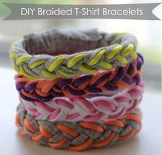 DIY Braided T-Shirt Bracelets gut für Jugendliche - Upcycled Crafts Cute Crafts, Crafts To Do, Crafts For Kids, Kids Diy, Do It Yourself Baby, Do It Yourself Fashion, Summer Camp Crafts, Camping Crafts, Upcycled Crafts