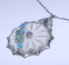 Antique Art Deco 14k White Gold Diamond Enamel Camphor Glass Pendant Necklace | eBay