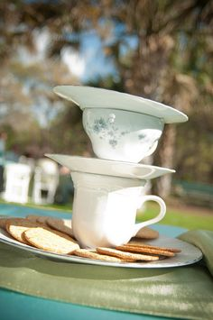 Mad Hatter tea party cup centerpieces -  Alice In Wonderland Tea / Party / Dinner