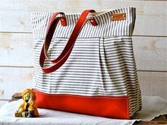WATER PROOF Best Seller Diaper bag / Tote Bag / Messenger bag  STOCKHOLM Gray and ecru nautical stripe - 10 Pockets Made to order