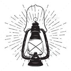 Hand Drawn Grunge Sketch Vintage Oil Lantern Or Kerosene Lamp With Rays Of Light T Shirt Print Poster Design Vector Illustrat