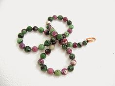 Ruby in Zoisite Necklace Knotted High Quality Red Ruby Green Zoisite multicolored semiprecious gemstone jewelry green / red / black beads - pinned by pin4etsy.com